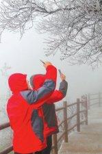 中原降瑞雪 游客喜赏